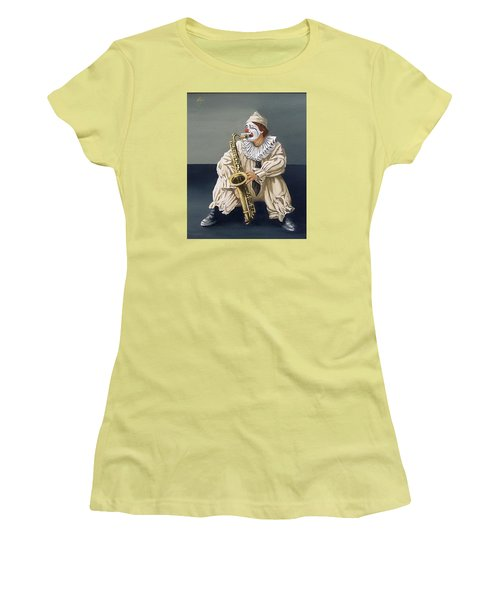 Women's T-Shirt (Junior Cut) featuring the painting Clown by Natalia Tejera