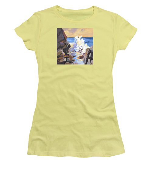 Women's T-Shirt (Junior Cut) featuring the painting Coastal Edge by Rae Andrews