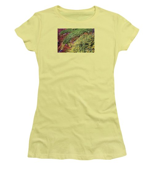 Coastal Flowers And Ice Plant Women's T-Shirt (Junior Cut) by Ted Pollard