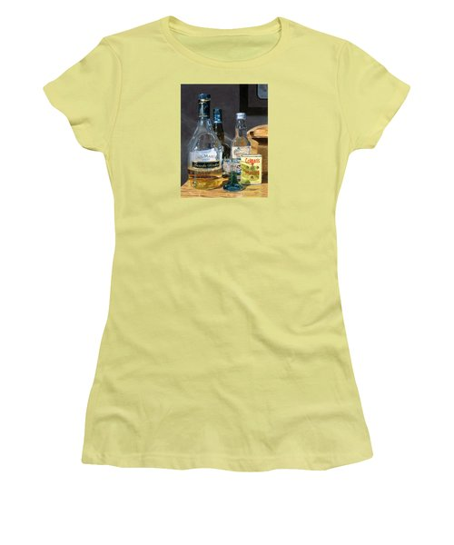 Women's T-Shirt (Athletic Fit) featuring the painting Cocktails And Mustard by Lynne Reichhart