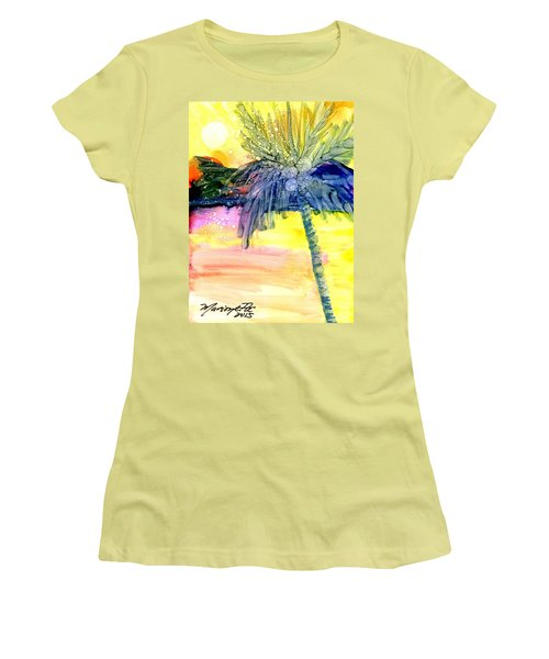 Coconut Palm Tree 3 Women's T-Shirt (Junior Cut) by Marionette Taboniar