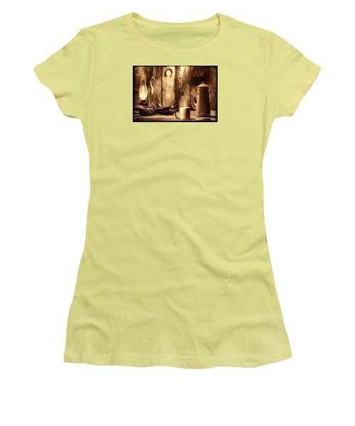 Coffee At The Cabin Women's T-Shirt (Junior Cut) by American West Legend By Olivier Le Queinec