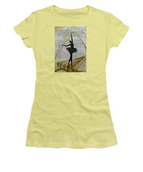 Women's T-Shirt (Junior Cut) featuring the painting Coffee Ballerina by AmaS Art