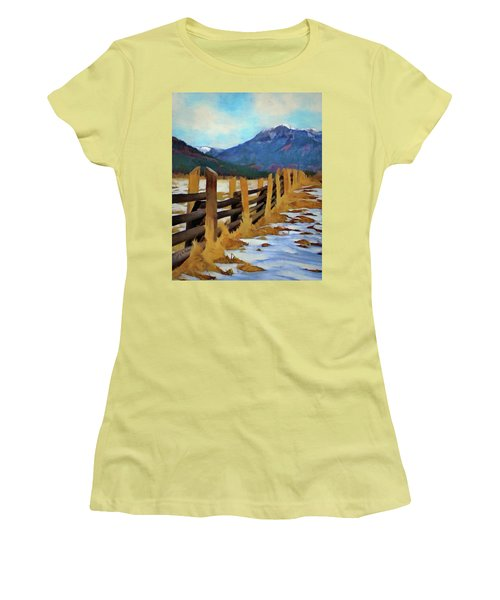 Women's T-Shirt (Junior Cut) featuring the painting Colorado Fence Line  by Jeff Kolker