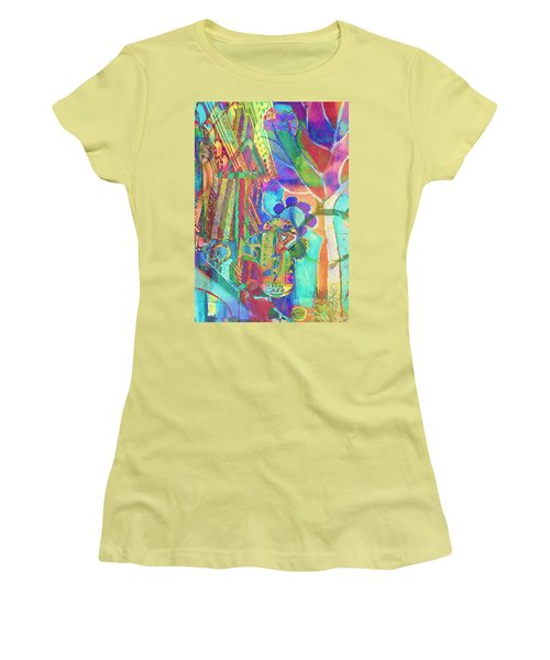 Colorful Cafe Abstract Women's T-Shirt (Junior Cut) by Susan Stone