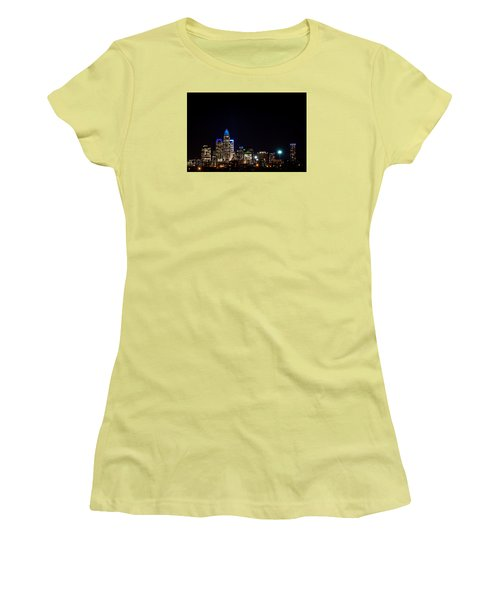 Women's T-Shirt (Junior Cut) featuring the photograph Colorful Charlotte, North Carolina Skyline by Serge Skiba