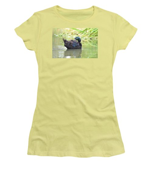 Women's T-Shirt (Junior Cut) featuring the photograph Colorful Duck by Laurianna Taylor
