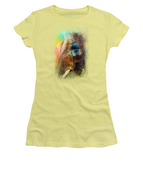 Colorful Expressions Elephant Women's T-Shirt (Junior Cut) by Jai Johnson
