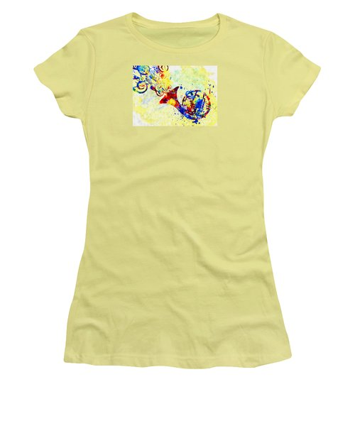 Colorful French Horn Women's T-Shirt (Junior Cut) by Olga Hamilton