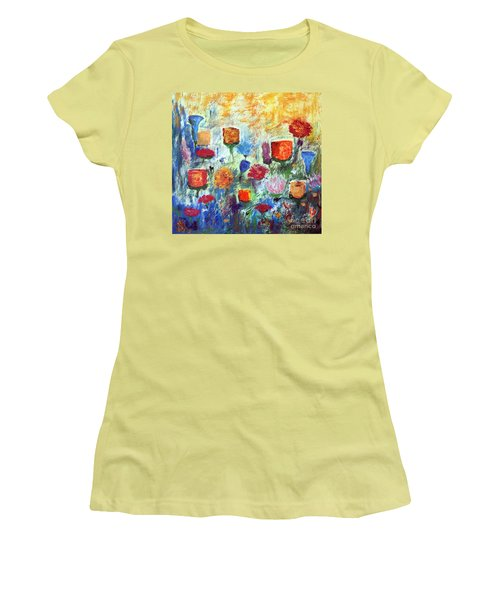 Women's T-Shirt (Junior Cut) featuring the painting Colorful Garden by Haleh Mahbod