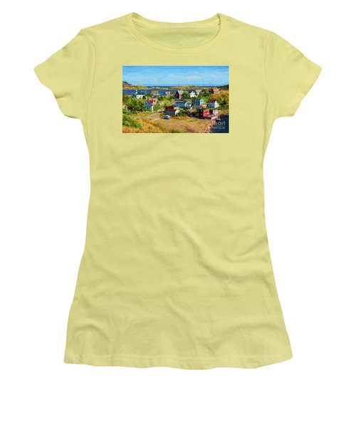 Colorful Homes In Trinity, Newfoundland - Painterly Women's T-Shirt (Junior Cut) by Les Palenik