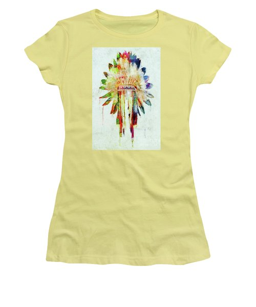 Colorful Lakota Sioux Headdress Women's T-Shirt (Athletic Fit)