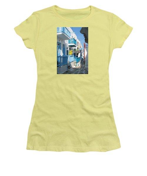 Colorful Mykonos Women's T-Shirt (Junior Cut) by Carla Parris