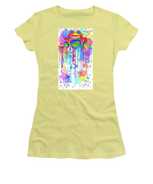 Women's T-Shirt (Junior Cut) featuring the painting Colorful Painted Frog  by Nick Gustafson