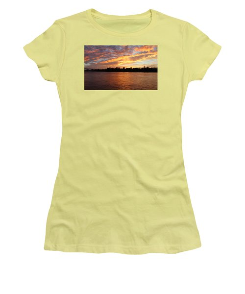 Women's T-Shirt (Junior Cut) featuring the photograph Colorful Sky At Sunset by Cynthia Guinn