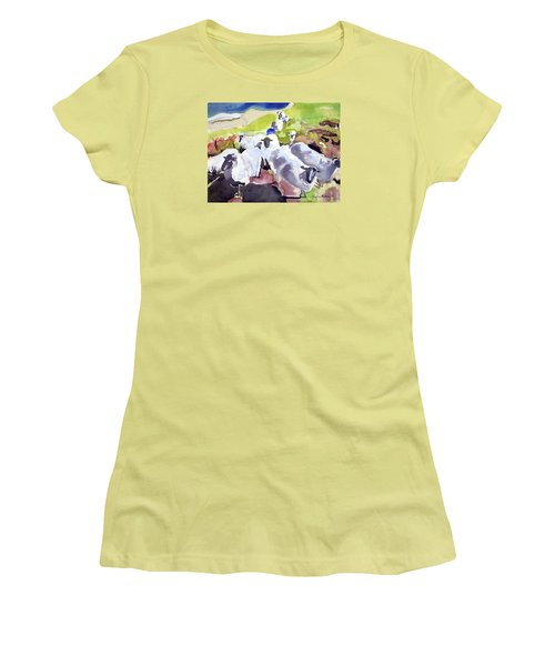 Colorful Waiting Sheep Women's T-Shirt (Athletic Fit)