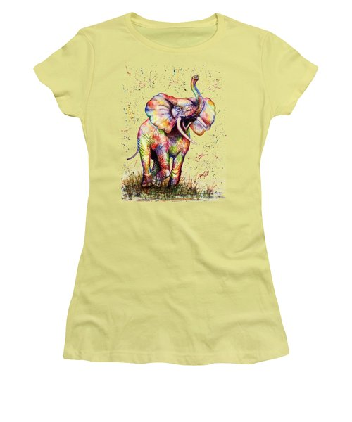Women's T-Shirt (Junior Cut) featuring the painting Colorful Watercolor Elephant by Georgeta Blanaru