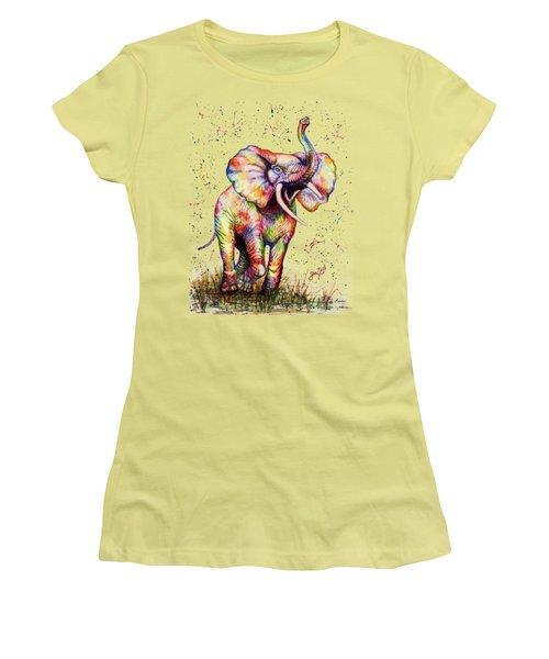 Colorful Watercolor Elephant Women's T-Shirt (Junior Cut) by Georgeta Blanaru