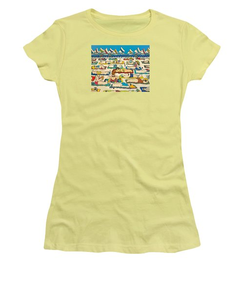 Colorful Whimsical Beach Seashore Women Men Women's T-Shirt (Junior Cut) by Rebecca Korpita