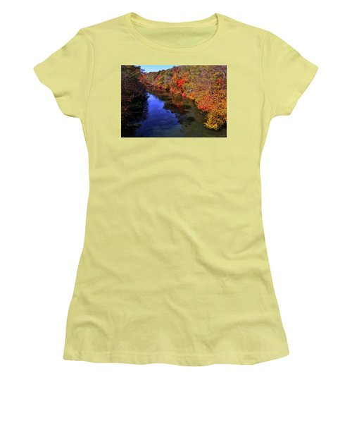Colors Of Nature - Fall River Reflections 001 Women's T-Shirt (Junior Cut) by George Bostian