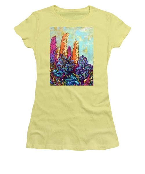 Women's T-Shirt (Junior Cut) featuring the painting Colorwild by Rae Chichilnitsky