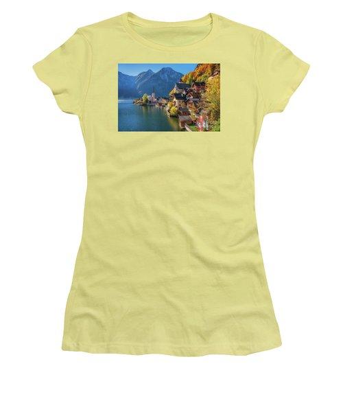 Colourful Hallstatt Women's T-Shirt (Junior Cut) by JR Photography