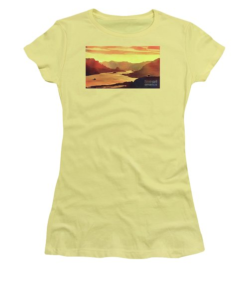Women's T-Shirt (Junior Cut) featuring the painting Columbia Gorge Scenery by Ryan Fox
