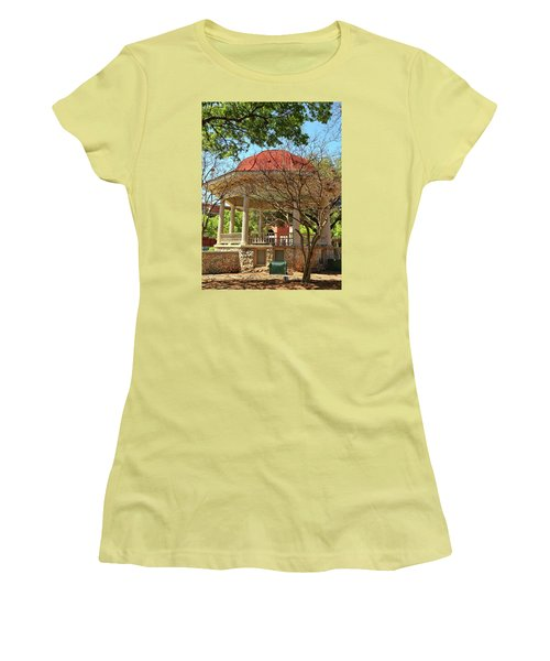 Comal County Gazebo In Main Plaza Women's T-Shirt (Junior Cut) by Judy Vincent