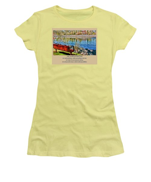 Come, Sit With Me My Dear Friend Women's T-Shirt (Junior Cut) by Rhonda McDougall
