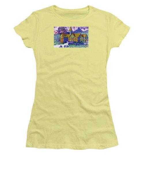 Women's T-Shirt (Junior Cut) featuring the painting Comic Inn by Mario Carini