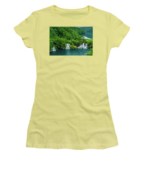 Connected By Waterfalls - Plitvice Lakes National Park, Croatia Women's T-Shirt (Athletic Fit)