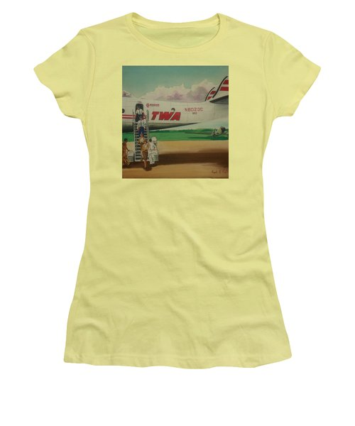 Connie Crew Deplaning At Columbus Women's T-Shirt (Junior Cut) by Frank Hunter
