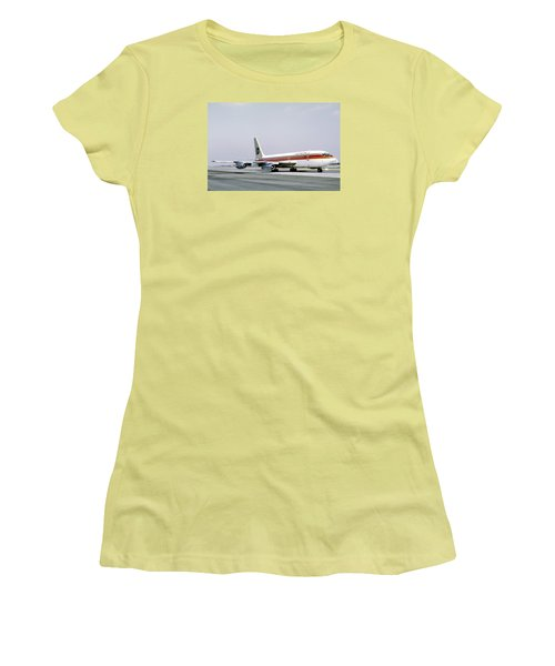 Continental Airlines 720-024b N17207 Los Angeles July 22 1972 Women's T-Shirt (Junior Cut) by Brian Lockett
