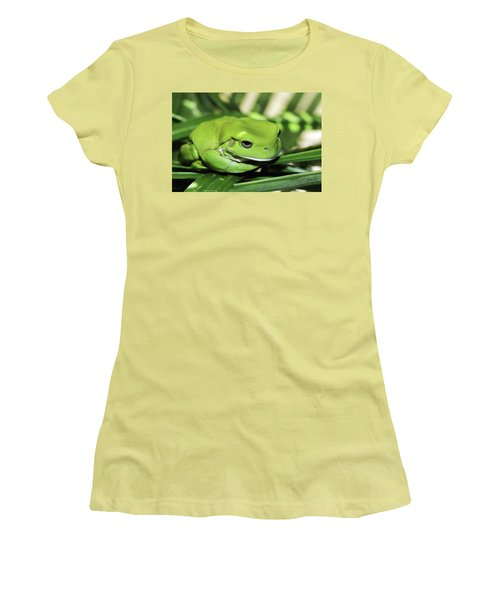 Cool Green Frog 001 Women's T-Shirt (Junior Cut) by Kevin Chippindall