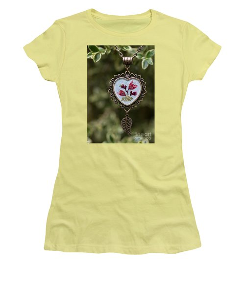Coral Bell Pressed Flower Pendant Women's T-Shirt (Athletic Fit)