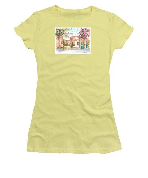 Corner With Bougainvillas In San Luis Obispo, California Women's T-Shirt (Junior Cut) by Carlos G Groppa