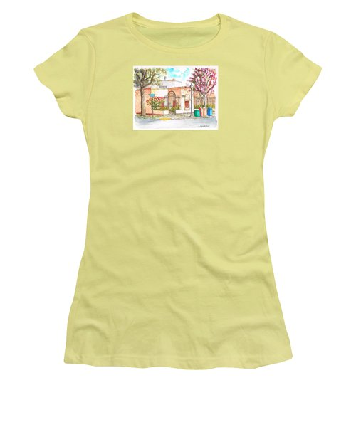 Corner With Bougainvillas In San Luis Obispo, California Women's T-Shirt (Athletic Fit)