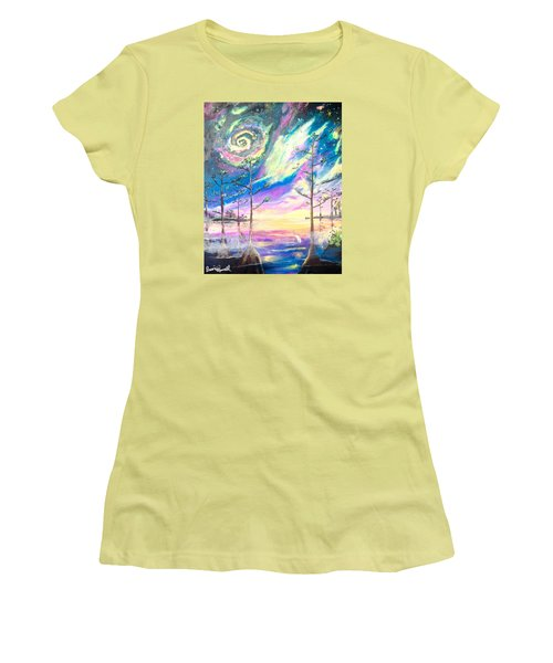 Women's T-Shirt (Junior Cut) featuring the painting Cosmic Florida by Dawn Harrell