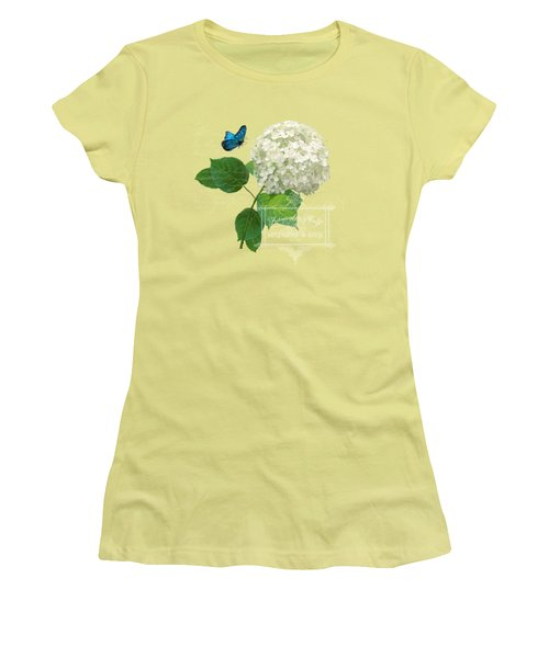 Women's T-Shirt (Junior Cut) featuring the painting Cottage Garden White Hydrangea With Blue Butterfly by Audrey Jeanne Roberts