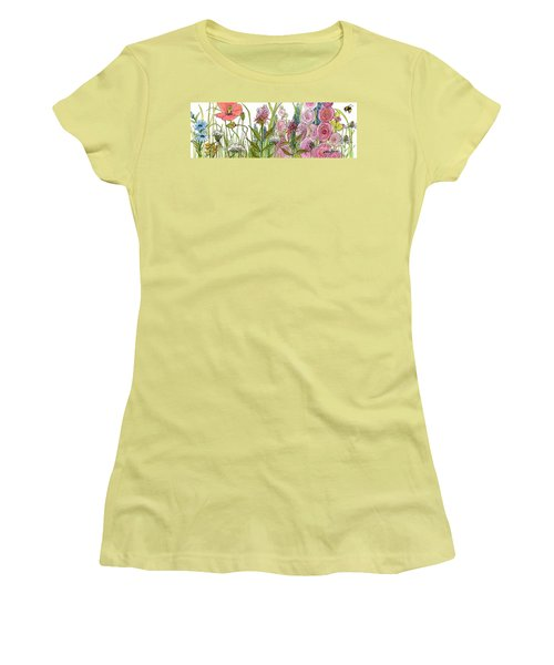 Women's T-Shirt (Athletic Fit) featuring the painting Cottage Hollyhock Garden by Laurie Rohner