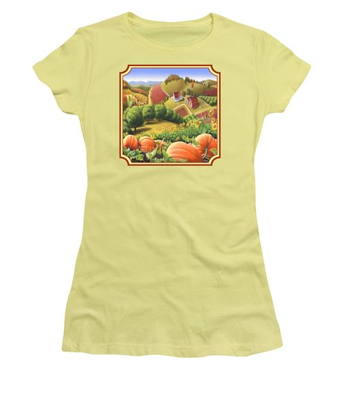 Country Landscape - Appalachian Pumpkin Patch - Country Farm Life - Square Format Women's T-Shirt (Athletic Fit)