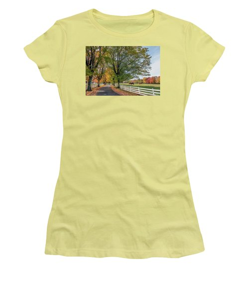 Country Road In Rural Maryland During Autumn Women's T-Shirt (Athletic Fit)