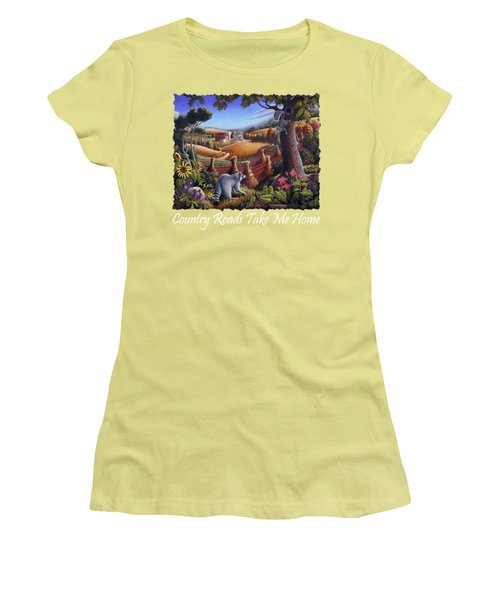 Country Roads Take Me Home T Shirt - Coon Gap Holler - Appalachian Country Landscape 2 Women's T-Shirt (Junior Cut) by Walt Curlee