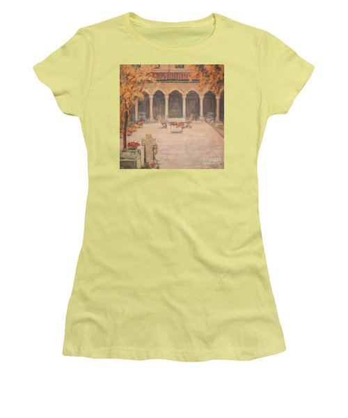 Women's T-Shirt (Junior Cut) featuring the painting Courtyard Of Stravopoleos Church by Olimpia - Hinamatsuri Barbu