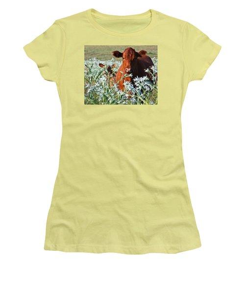 Cow Hide Women's T-Shirt (Junior Cut) by Mark Alder