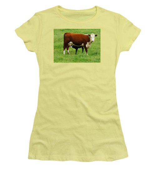 Women's T-Shirt (Junior Cut) featuring the painting Cow With Calf by Debra Crank