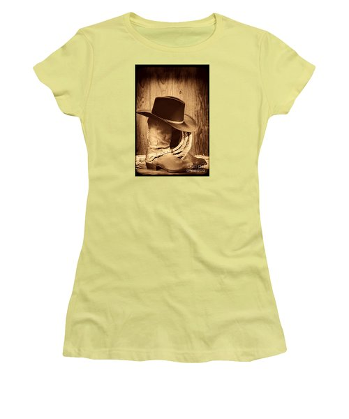 Cowboy Hat On Boots Women's T-Shirt (Junior Cut) by American West Legend By Olivier Le Queinec