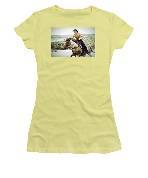 Cowboy Riding Horse On The Beach Women's T-Shirt (Athletic Fit)
