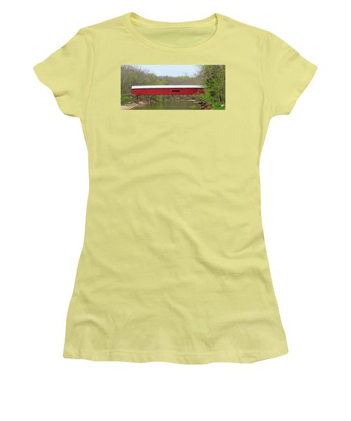 Women's T-Shirt (Junior Cut) featuring the photograph Cox Ford Covered Bridge - Sideview by Harold Rau