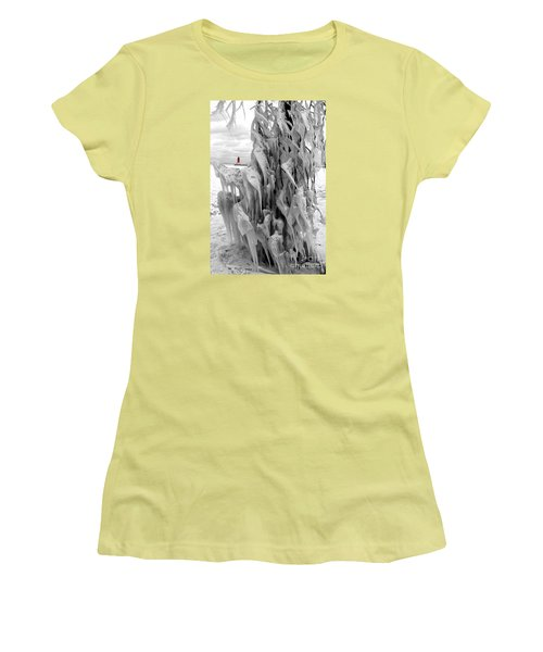 Women's T-Shirt (Junior Cut) featuring the photograph Cradled In Ice - Menominee North Pier Lighthouse by Mark J Seefeldt